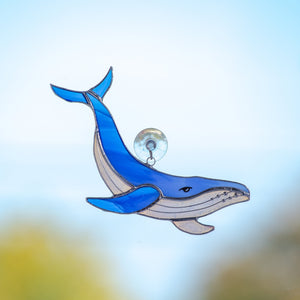 Stained glass royal blue whale with clear lower part suncatcher