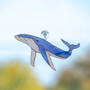Blue stained glass whale window hanging for home decor