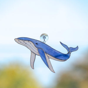 Stained glass blue whale window hanging for home decoration
