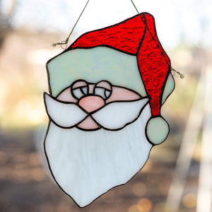 Stained glass Santa Claus portrait suncatcher for Christmas decoration