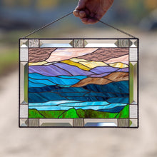 Load image into Gallery viewer, Mount Washington window hanging of stained glass