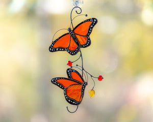 Monarch butterflies stained glass window hangings decor  for mom friend