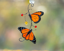Load image into Gallery viewer, Monarch butterflies stained glass suncatcher Stained glass window hangings Modern stained glass decor Valentines day gift