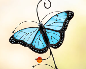 Blue Morpho butterfly stained glass suncatcher