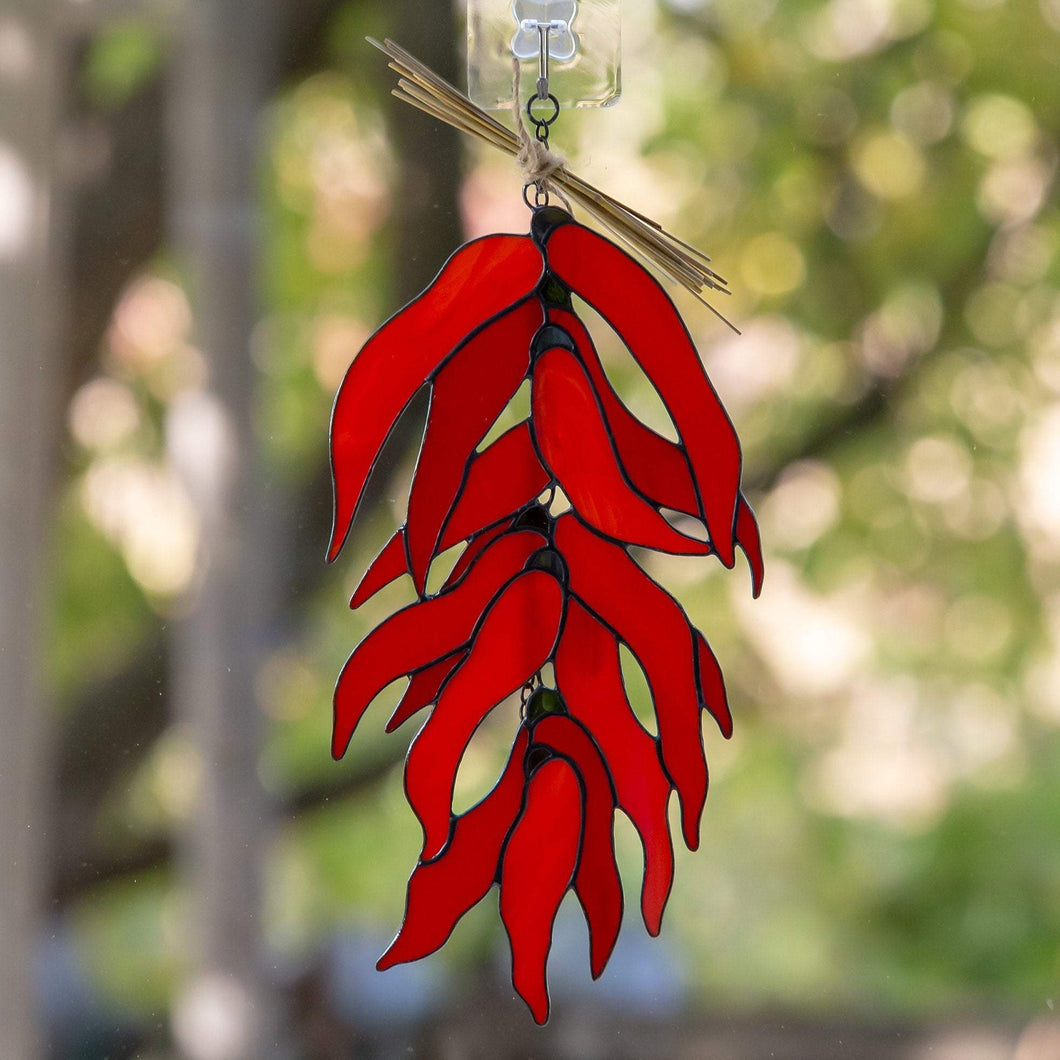 Stained glass sistra chilli peppers window hanging