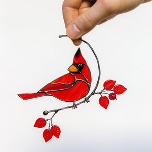 Stained glass male cardinal on the branch window hanging