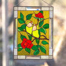 Load image into Gallery viewer, Stained glass panel depicting lovebirds sitting on the branch with flowers