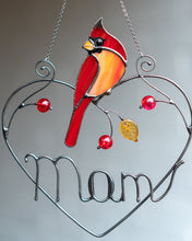 Load image into Gallery viewer, Personalized Mother's Day gift stained glass cardinal suncatcher Custom stained glass bird decor