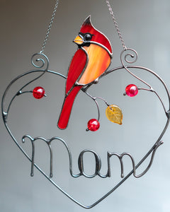 Personalized Mother's Day gift stained glass cardinal suncatcher Custom stained glass bird decor