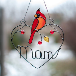 Stained glass redbird sitting on a wire heart with personalization suncatcher