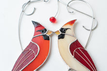 Load image into Gallery viewer, Cardinal stained glass window hangings Cardinal gifts for Mothers Day Stained glass bird suncatcher