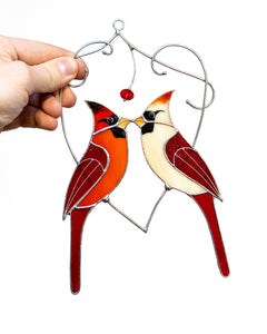 Cardinal stained glass window hangings Cardinal gifts for Mothers Day Stained glass bird suncatcher