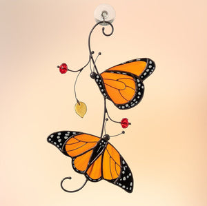 Monarch butterflies stained glass suncatcher Stained glass window hangings Modern stained glass decor Valentines day gift