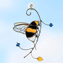 Load image into Gallery viewer, Stained glass bumblebee sitting on the branch suncatcher