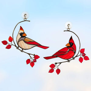 Male and female stained glass cardinals sitting on the branch suncatcher