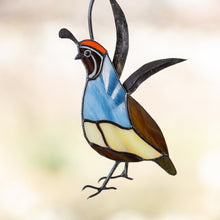 Load image into Gallery viewer, California male quail of stained glass suncatcher