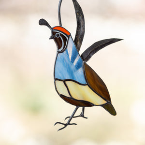 California male quail of stained glass suncatcher