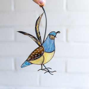 Stained glass California female quail home decor