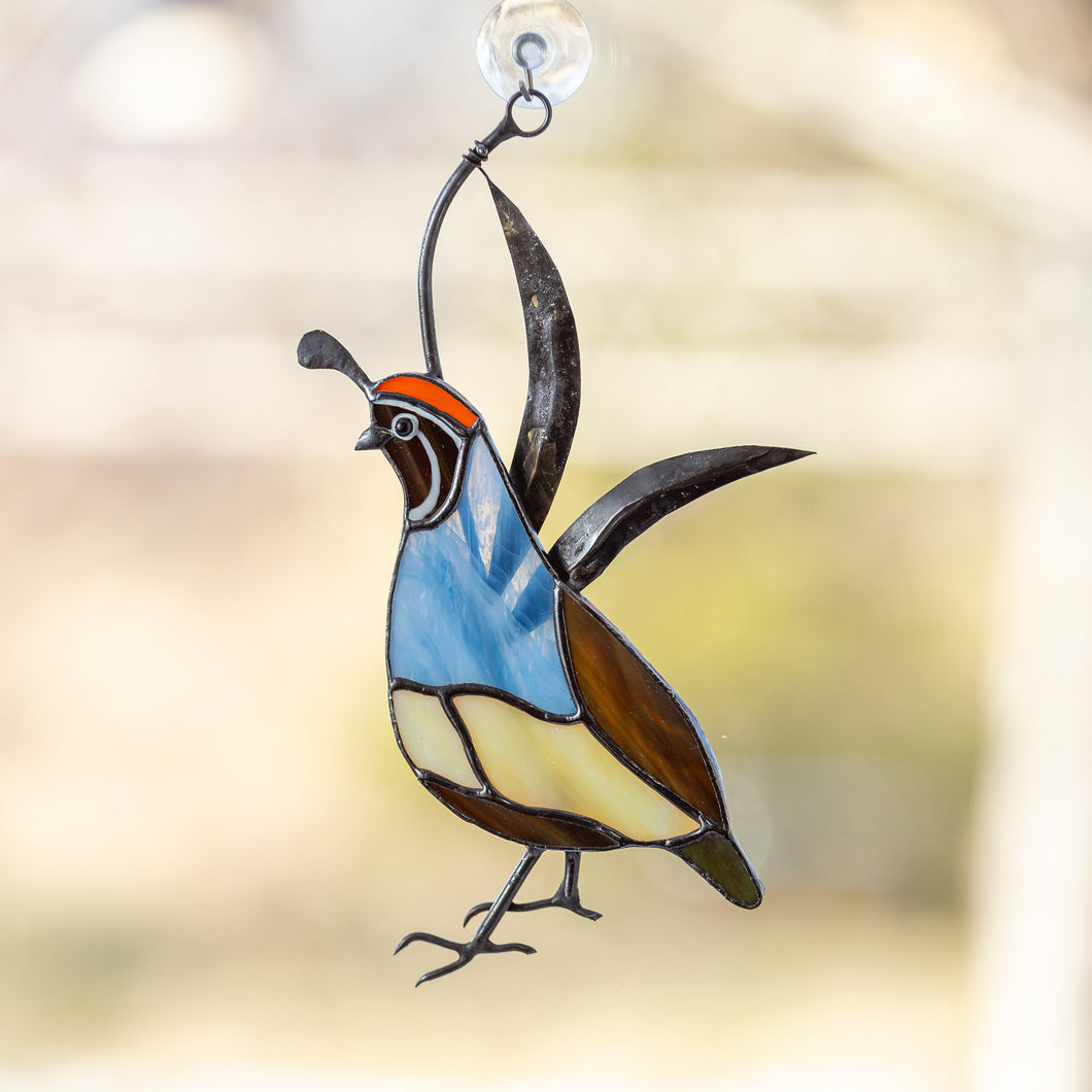 Male stained glass quail window hanging