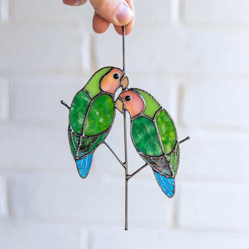 Stained glass pair of lovebirds suncatcher for window decoration