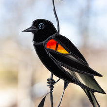 Load image into Gallery viewer, Zoomed stained glass blackbird suncatcher with red wing