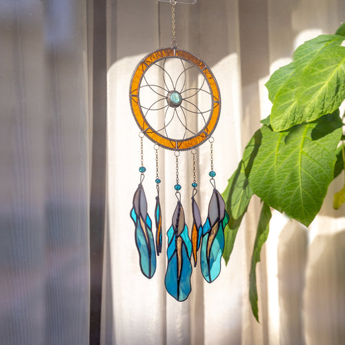 Stained glass orange dreamcatcher with blue feathers for home decor