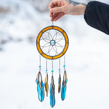 Load image into Gallery viewer, Stained glass dreamcatcher with blue feathers below