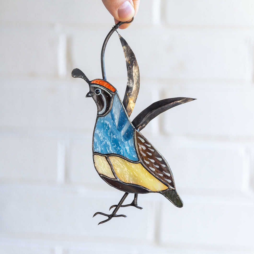 Stained glass California male quail window hanging