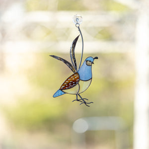 Stained glass California female quail suncatcher