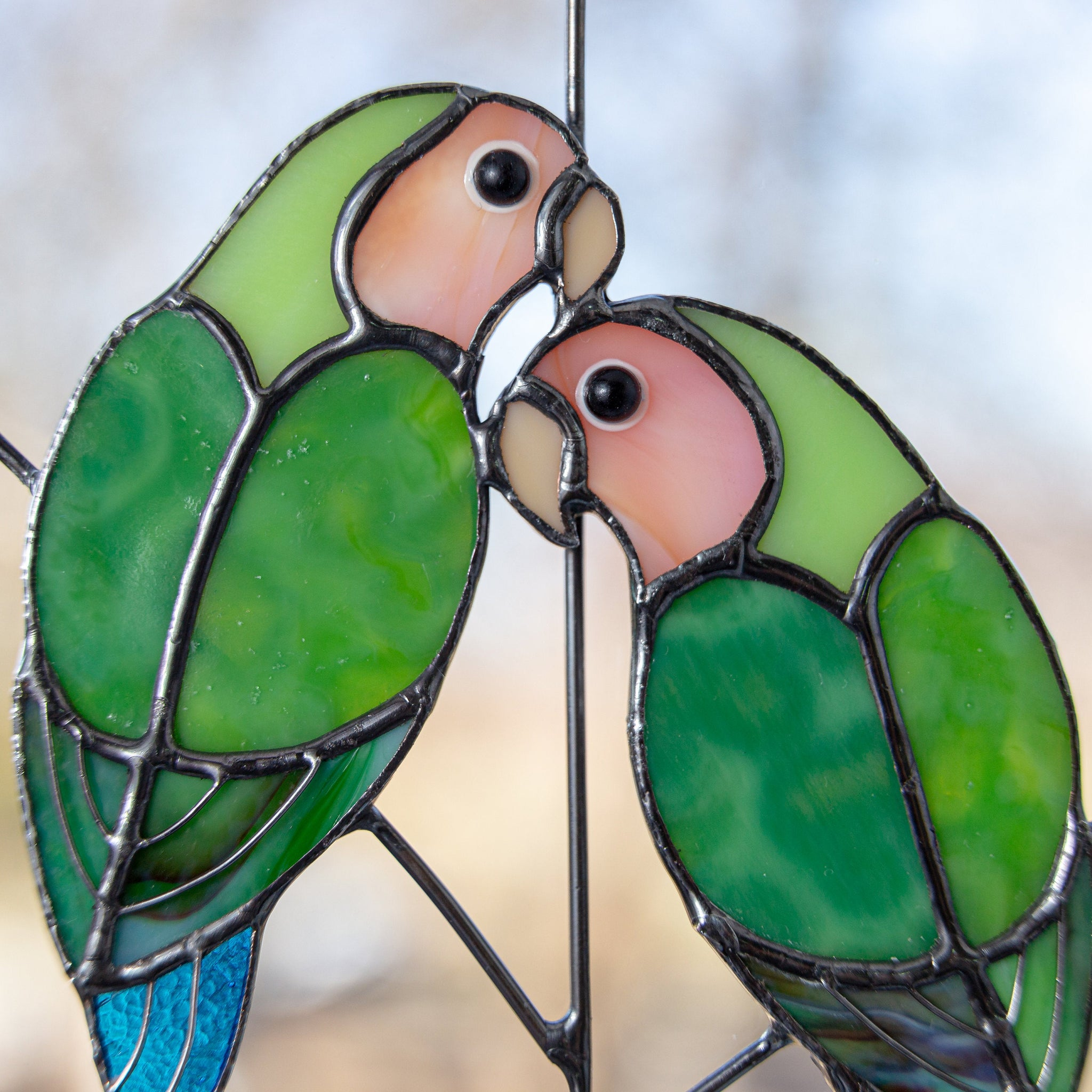 Stained Glass Lovebirds On The Branch Suncatcher For Window Decoration