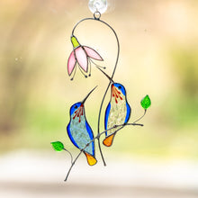 Load image into Gallery viewer, Pair of blue hummingbirds on the branch with pink flowers window hanging