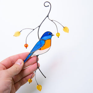 Stained glass bluebird with orange breast suncatcher