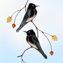 Load image into Gallery viewer, Two black phoebe birds sitting on the branch stained glass suncatcher