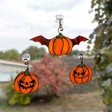 Load image into Gallery viewer, Halloween stained glass pumpkin set of 3 suncatchers creepy decoration