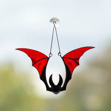 Load image into Gallery viewer, Red-winged bat suncatcher of stained glass for Halloween ghastly decor