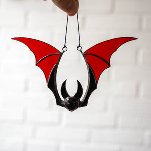 Stained glass Halloween red bat window hanging