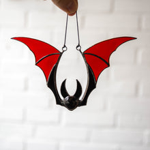 Load image into Gallery viewer, Stained glass Halloween red bat window hanging