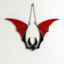 Load image into Gallery viewer, Halloween stained glass red bat