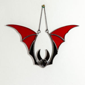 Halloween stained glass red bat