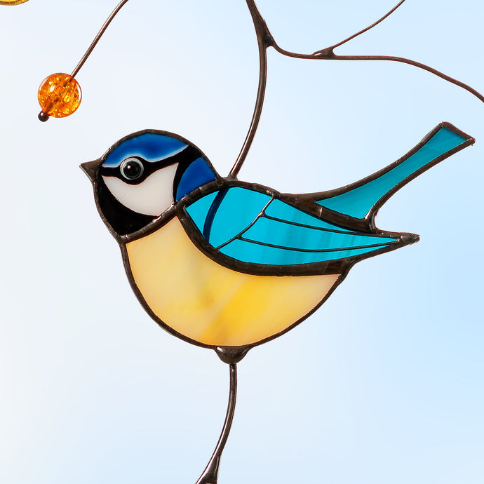Blue Chickadee on a copper branch stained glass suncatcher