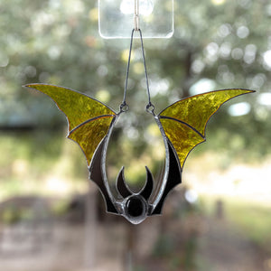 Halloween yellow bat spooky suncatcher