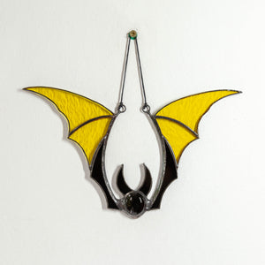 Yellow bat stained glass suncatcher