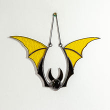 Load image into Gallery viewer, Yellow bat suncatcher for Halloween decor