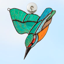 Load image into Gallery viewer, flying and diving kingfisher stained glass suncatcher  Edit alt text