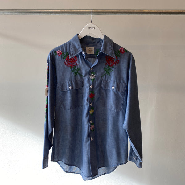 70's Embroidered chambray - Medium/Large