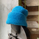 60's Blue Knit Beanie - Large