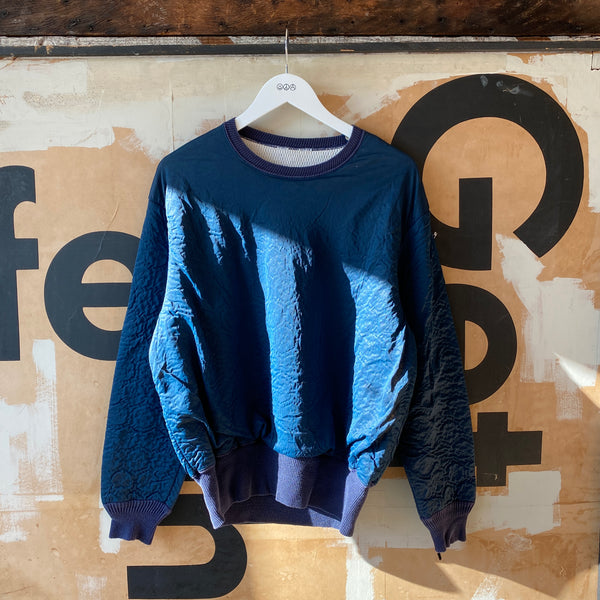 70's Blue Thermal Crewneck - XL