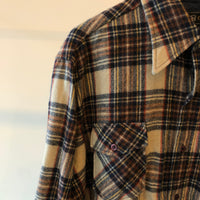 80's Wool Plaid Flannel Shirt - Large