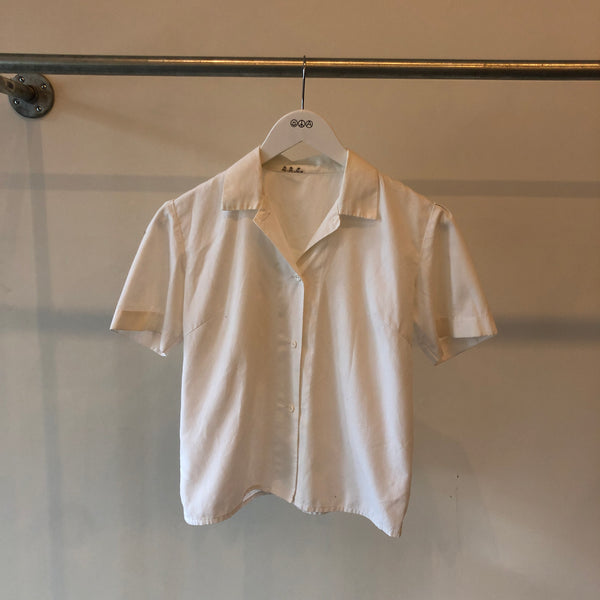 70's Women's White Button Down Shirt - XS