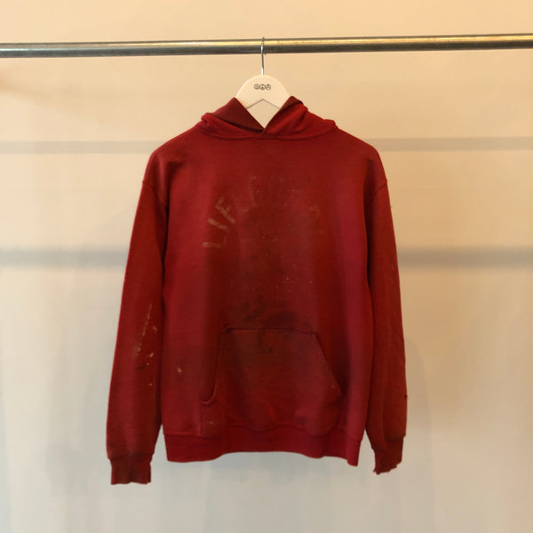90's Thrashed Red Lifeguard Hoodie - Large